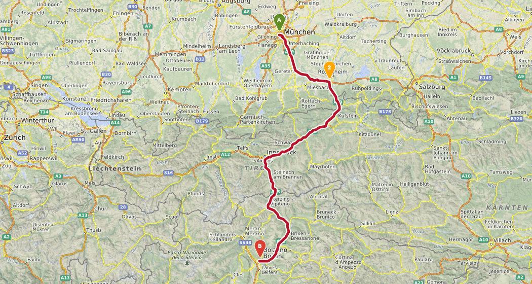 Østrig Toscana rute1