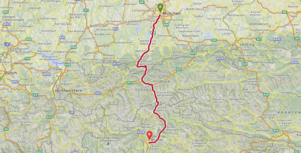 Østrig Toscana rute2