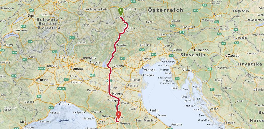 Italien Toscana rute2