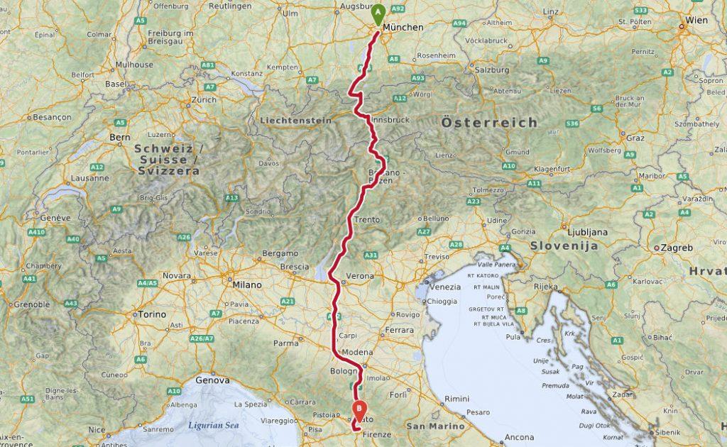 Toscana ankomst München florence
