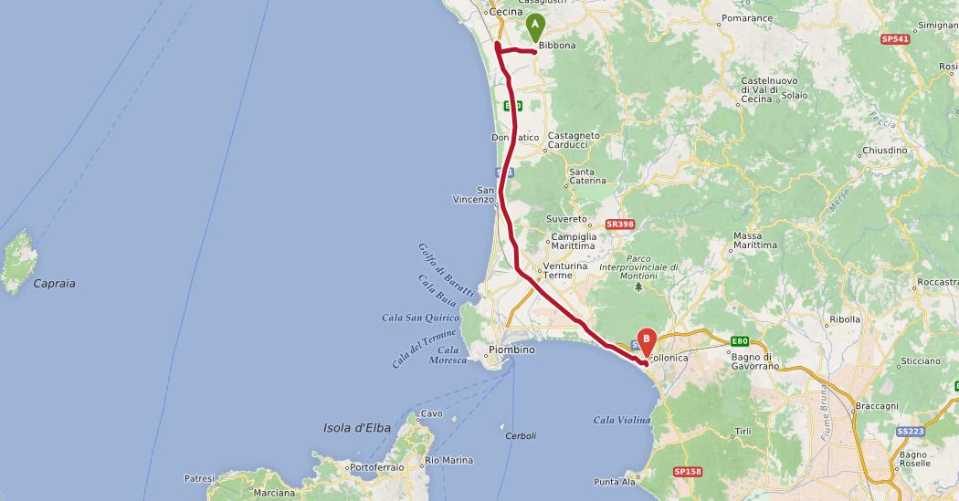 bibbona follonica strand route