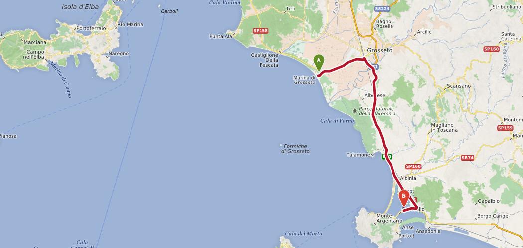 grosseto orbetello strand route