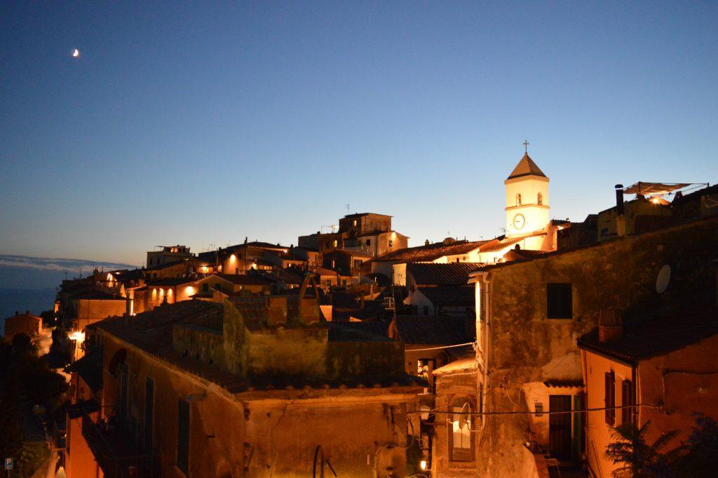 town, buildings, night